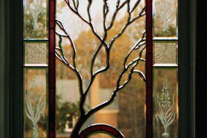Contemporary Stained Glass Sculpted Tree Beveled Glass Window 01